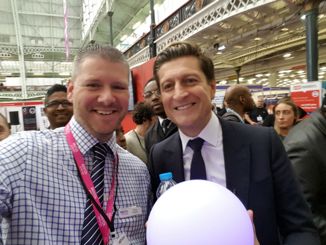 Steve Parish and James Palmer at The Business Show with mood ball