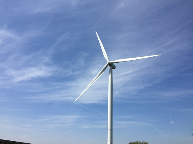 wind turbine powering a renewable generator