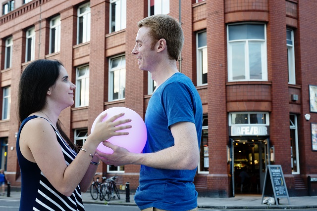Bristol Energy customers Phil and Justine outside the Tobacco Factory, Southville