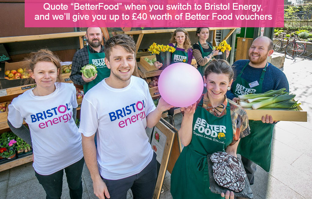 Employees from Bristol Energy and Better Food outside of Better Food store